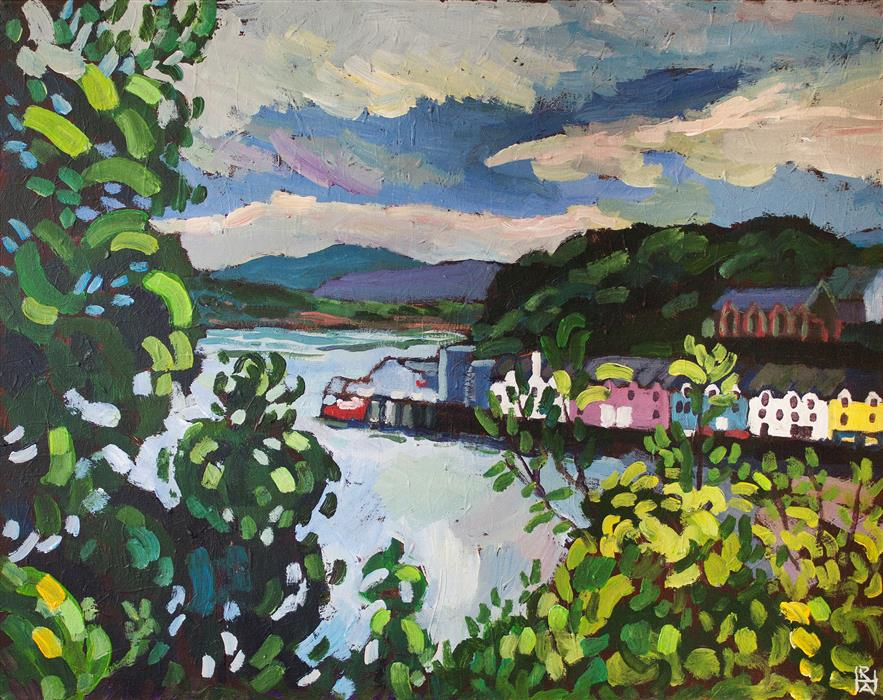 Original art for sale at UGallery.com | Portree Harbor, Isle of Skye by Robert Hofherr | $1,100 | acrylic painting | 22' h x 28' w | ..\art\acrylic-painting-Portree-Harbor-Isle-of-Skye