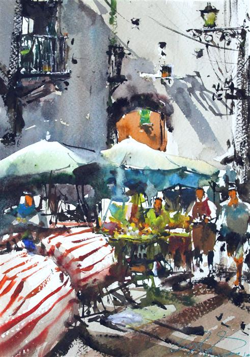 Original art for sale at UGallery.com | Crowded Naples by Maximilian Damico | $550 | watercolor painting | 18' h x 11' w | ..\art\watercolor-painting-Crowded-Naples