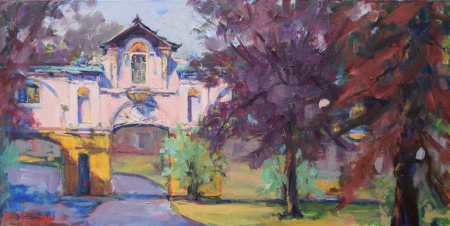 Original art for sale at UGallery.com | Cloister Walk by Mickey Cunningham | $1,125 | oil painting | 15' h x 30' w | ..\art\oil-painting-Cloister-Walk