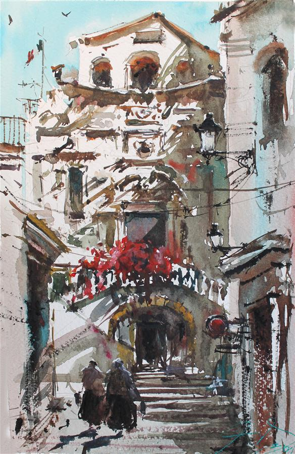 Original art for sale at UGallery.com | Silent Napoli by Maximilian Damico | $550 | watercolor painting | 11' h x 8' w | ..\art\watercolor-painting-Silent-Napoli