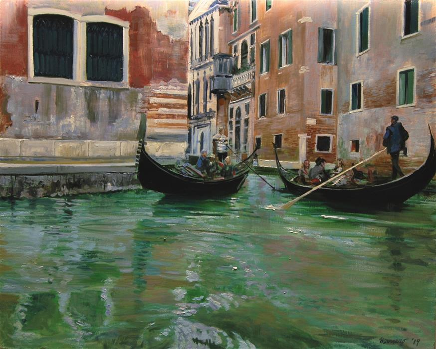 Original art for sale at UGallery.com | Two Passing Gondolas by ONELIO MARRERO | $925 |  | 16' h x 20' w | ..\art\oil-painting-Two-Passing-Gondolas
