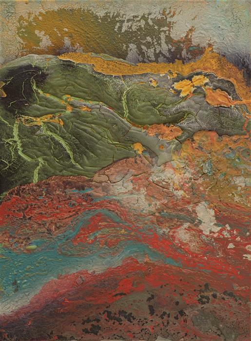 Original art for sale at UGallery.com | Caldera Volcanica by Fernando Bosch | $1,950 | mixed media artwork | 28.7' h x 21.26' w | ..\art\mixed-media-artwork-Caldera-Volcanica
