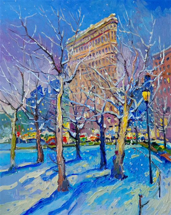 Original art for sale at UGallery.com | Winter Night in New York, Flatiron Building by Suren Nersisyan | $1,800 | oil painting | 30' h x 24' w | ..\art\oil-painting-Winter-Night-in-New-York-Flatiron-Building