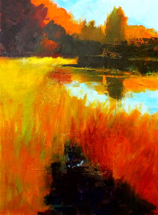 Original art for sale at UGallery.com | Autumn Marsh by Nancy Merkle | $750 | acrylic painting | 24' h x 18' w | ..\art\acrylic-painting-Autumn-Marsh