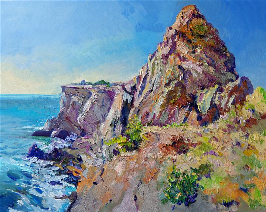Original art for sale at UGallery.com | Malibu Rock, Southwestern Landscape, Noon by Suren Nersisyan | $1,050 | oil painting | 24' h x 30' w | ..\art\oil-painting-Malibu-Rock-Southwestern-Landscape-Noon