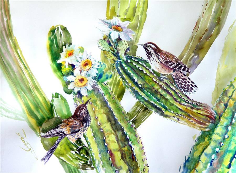 Original art for sale at UGallery.com | Cactus Wren and Saguaro Cactus by Suren Nersisyan | $400 | watercolor painting | 18' h x 24' w | ..\art\watercolor-painting-Cactus-Wren-and-Saguaro-Cactus