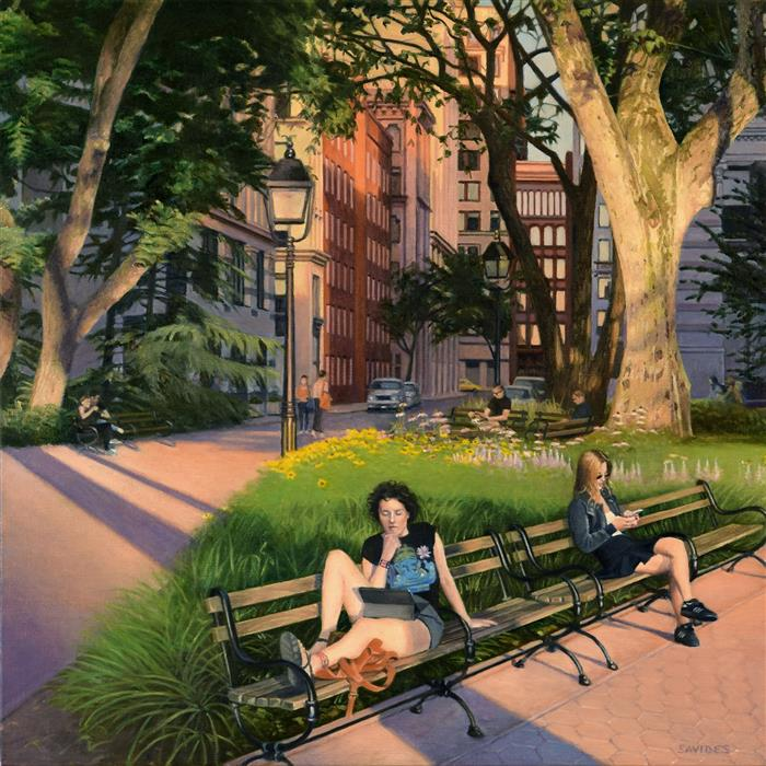 Original art for sale at UGallery.com | Washington Square Park - Summer Evening by Nick Savides | $2,850 | oil painting | 24' h x 24' w | ..\art\oil-painting-Washington-Square-Park-Summer-Evening
