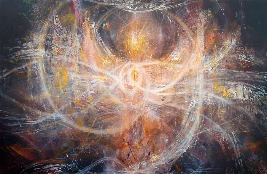 Original art for sale at UGallery.com | Incandescent Vibrations Angel by Kloska Ovidiu | $7,200 | acrylic painting | 76' h x 116' w | ..\art\acrylic-painting-Incandescent-Vibrations-Angel