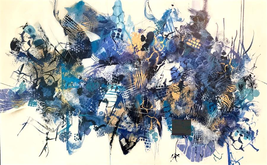Original art for sale at UGallery.com | Blue Vibe by DL Watson | $3,750 | acrylic painting | 30' h x 48' w | ..\art\acrylic-painting-Blue-Vibe-65745