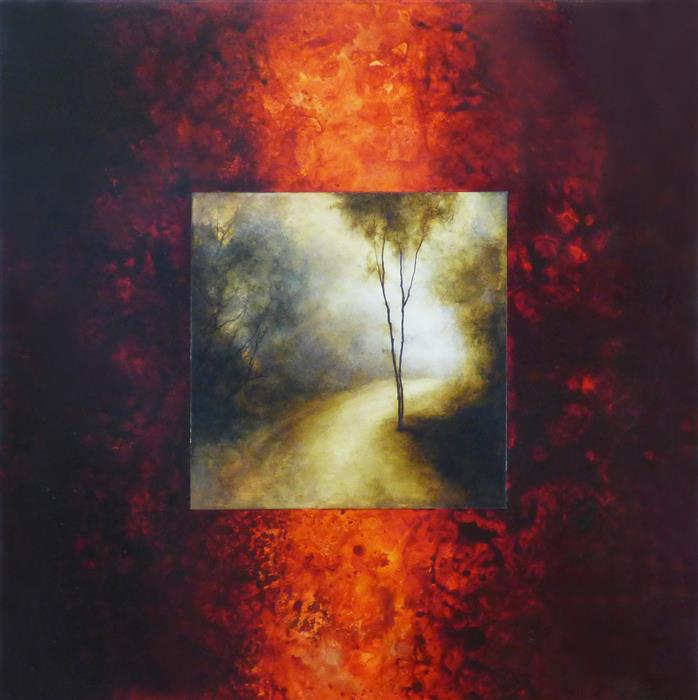 Original art for sale at UGallery.com | Forest Road by Candice Eisenfeld | $4,200 | acrylic painting | 36' h x 36' w | ..\art\acrylic-painting-Forest-Road