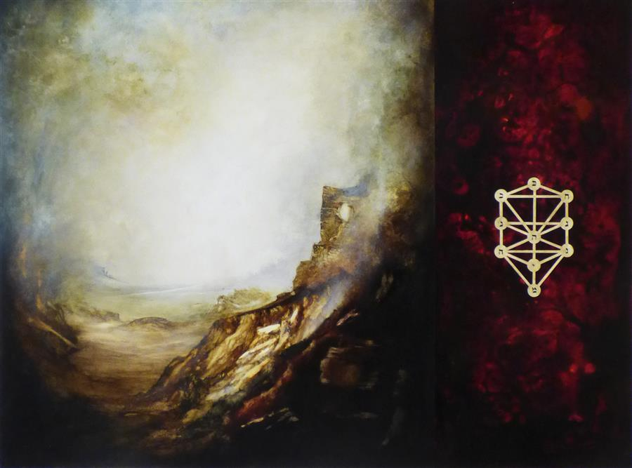 Original art for sale at UGallery.com | Kabbalah Mountains by Candice Eisenfeld | $5,900 | acrylic painting | 36' h x 48' w | ..\art\acrylic-painting-Kabbalah-Mountains