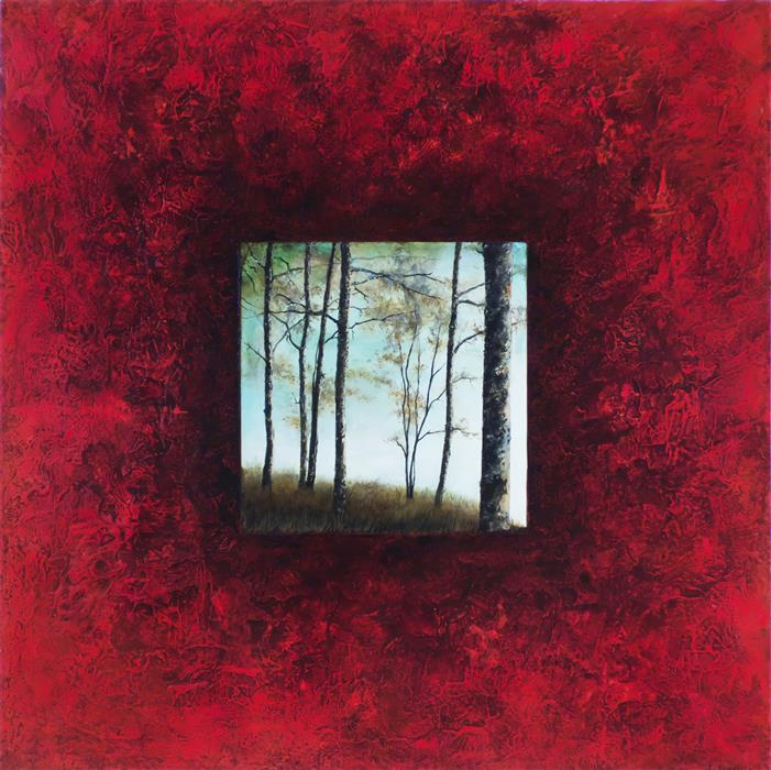 Original art for sale at UGallery.com | Red Pond Trees by Candice Eisenfeld | $4,200 | acrylic painting | 36' h x 36' w | ..\art\acrylic-painting-Red-Pond-Trees