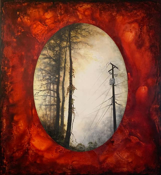 Original art for sale at UGallery.com | The Turning Point (Telephone Pole in Red) by Candice Eisenfeld | $9,175 | acrylic painting | 56' h x 48' w | ..\art\acrylic-painting-The-Turning-Point-Telephone-Pole-in-Red