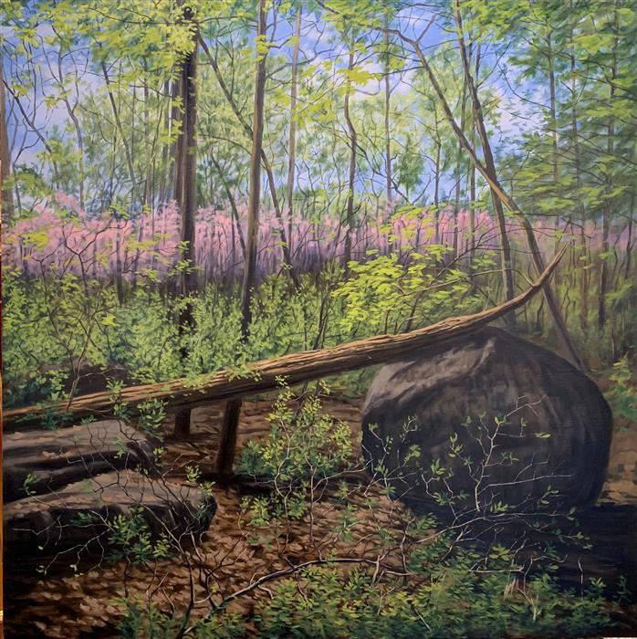 Original art for sale at UGallery.com | Spring on Little Round Top by JAY JENSEN | $2,850 |  | 30' h x 30' w | ..\art\oil-painting-Spring-on-Little-Round-Top