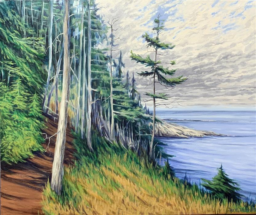 Original art for sale at UGallery.com | The Trail at West Quoddy Head by Jay Jensen | $1,825 | oil painting | 22' h x 28' w | ..\art\oil-painting-The-Trail-at-West-Quoddy-Head