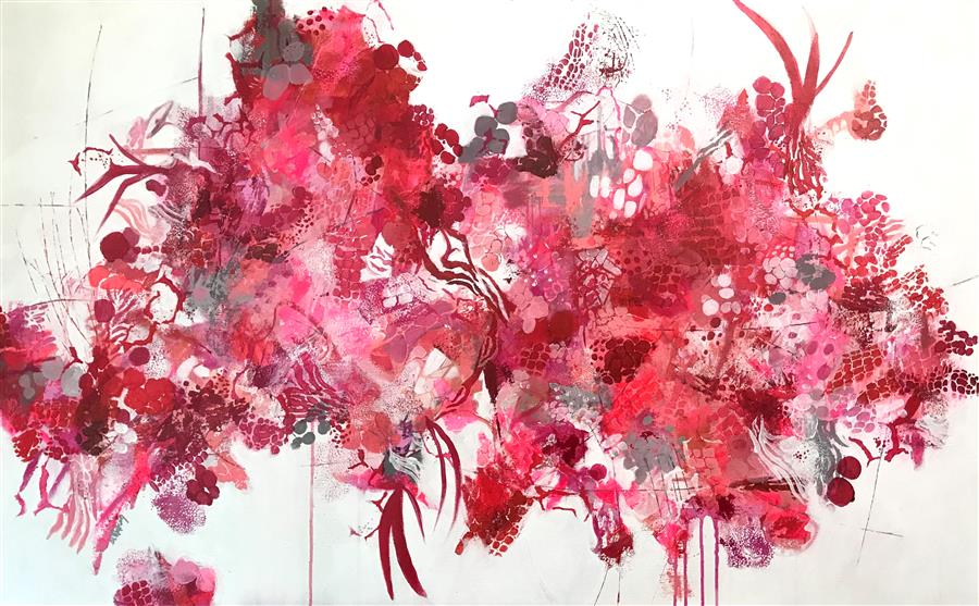 Original art for sale at UGallery.com | Crimson Glory by DL Watson | $3,700 | acrylic painting | 30' h x 48' w | ..\art\acrylic-painting-Crimson-Glory
