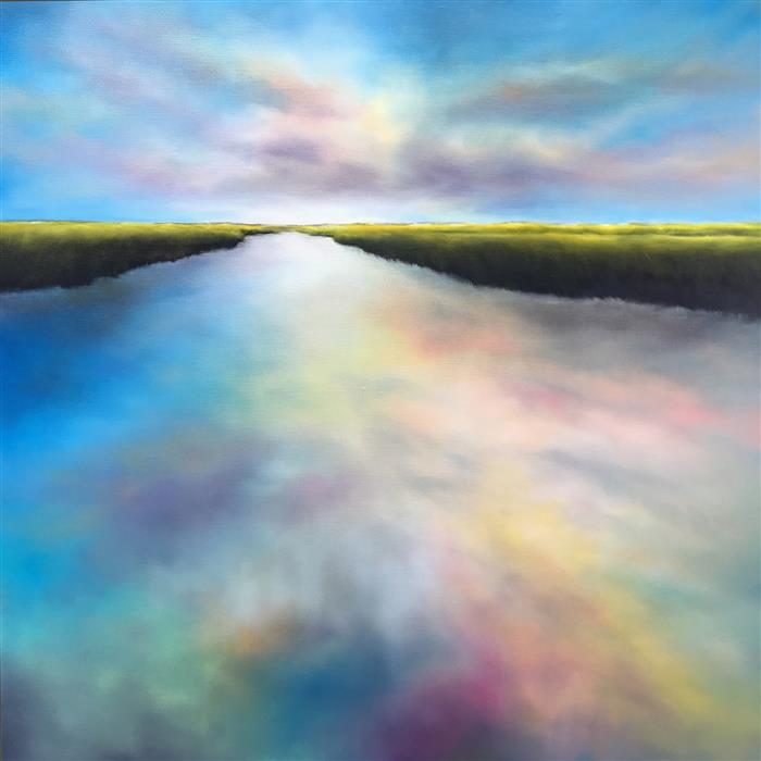 Original art for sale at UGallery.com | Daybreak Marsh Waters by Nancy Hughes Miller | $1,400 | oil painting | 30' h x 30' w | ..\art\oil-painting-Daybreak-Marsh-Waters