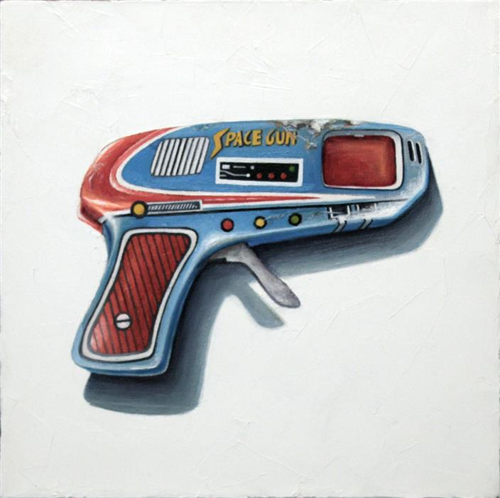 Original art for sale at UGallery.com | Pew Pew Pew! by Amber Allen | $500 | oil painting | 12' h x 12' w | ..\art\oil-painting-Pew-Pew-Pew-65804