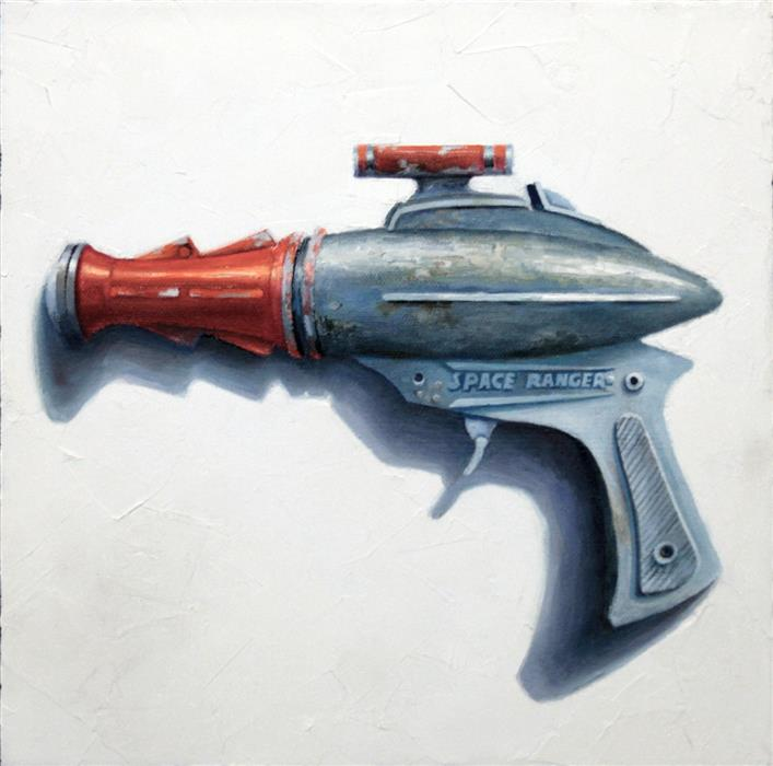 Original art for sale at UGallery.com | Pew Pew, Pew Pew! by Amber Allen | $500 | oil painting | 12' h x 12' w | ..\art\oil-painting-Pew-Pew-Pew-Pew