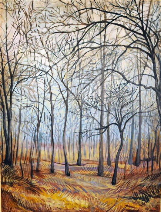Original art for sale at UGallery.com | Winter Woods by Kira Yustak | $1,775 | acrylic painting | 40' h x 30' w | ..\art\acrylic-painting-Winter-Woods