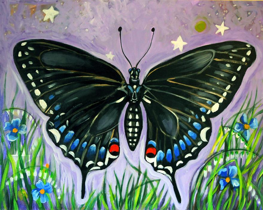 Original art for sale at UGallery.com | Black Butterfly by KIRA YUSTAK | $975 |  | 22' h x 28' w | ..\art\acrylic-painting-Black-Butterfly