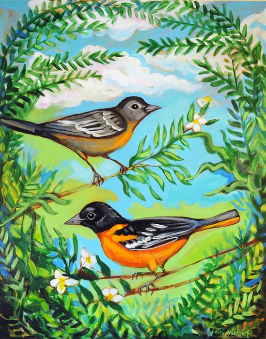 Original art for sale at UGallery.com | Baltimore Orioles by Kira Yustak | $1,175 | acrylic painting | 28' h x 22' w | ..\art\acrylic-painting-Baltimore-Orioles