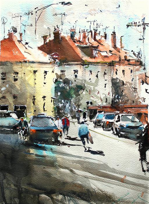 Original art for sale at UGallery.com | Out of My Studio by Maximilian Damico | $600 | watercolor painting | 15' h x 11' w | ..\art\watercolor-painting-Out-of-My-Studio
