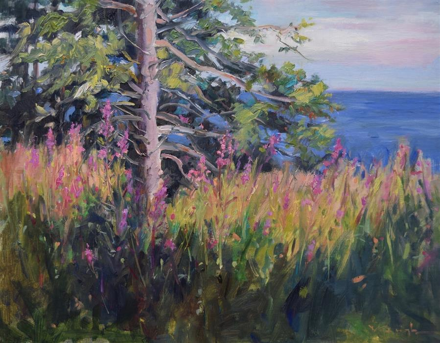 Original art for sale at UGallery.com | Superior's Purple Shore by Mickey Cunningham | $625 | oil painting | 14' h x 18' w | ..\art\oil-painting-Superior-s-Purple-Shore