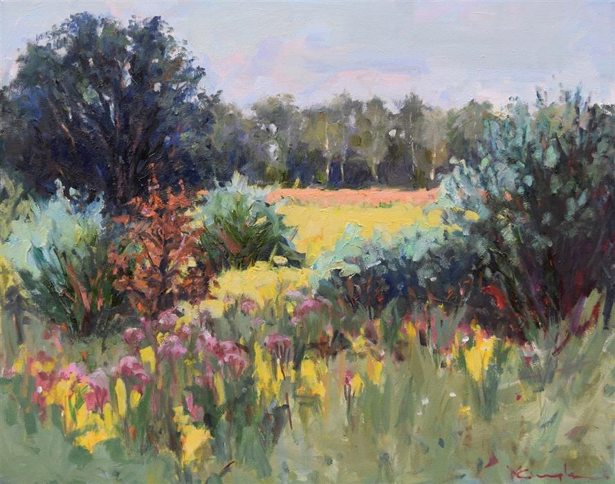 Original art for sale at UGallery.com | Field of Gold by Mickey Cunningham | $700 | oil painting | 16' h x 20' w | ..\art\oil-painting-Field-of-Gold-65842