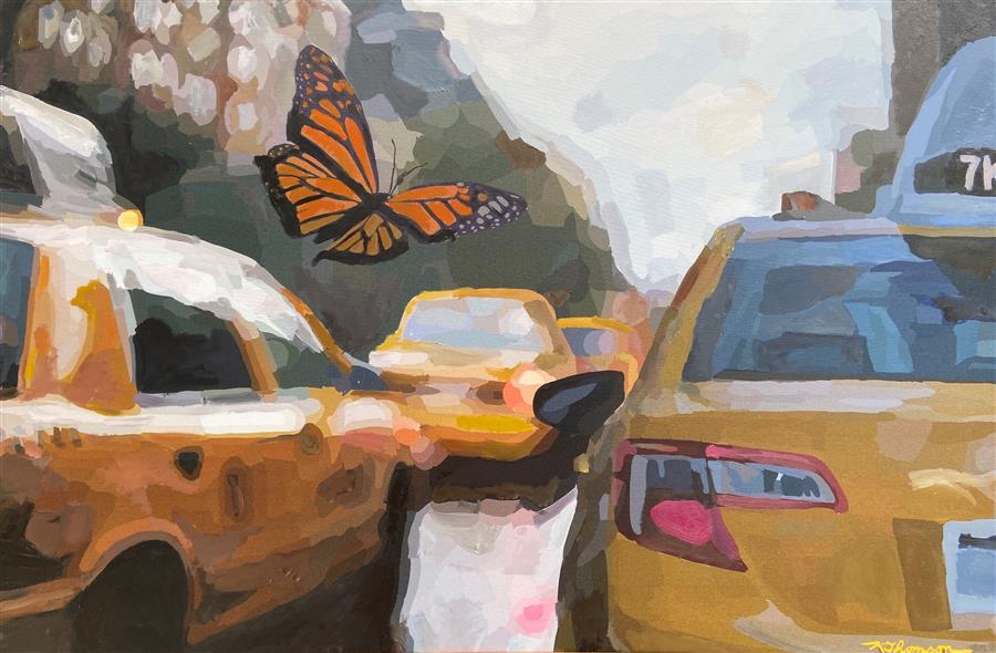 Original art for sale at UGallery.com | The Morning Commute by Keith Thomson | $1,400 | mixed media artwork | 24' h x 36' w | ..\art\mixed-media-artwork-The-Morning-Commute