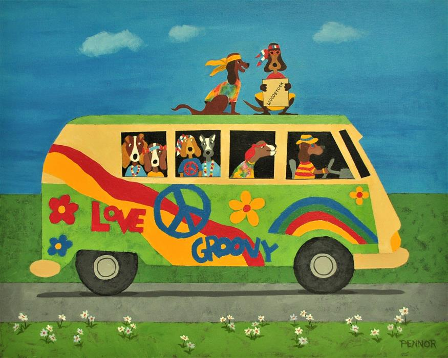 Original art for sale at UGallery.com | Woodstock Bound by Carolyn Pennor | $1,350 | acrylic painting | 24' h x 30' w | ..\art\acrylic-painting-Woodstock-Bound
