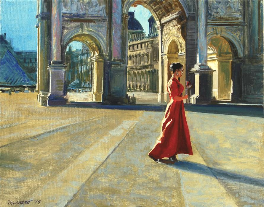 Original art for sale at UGallery.com | At the Arc de Triomphe du Carrousel by Onelio Marrero | $600 | oil painting | 11' h x 14' w | ..\art\oil-painting-At-the-Arc-de-Triomphe-du-Carrousel