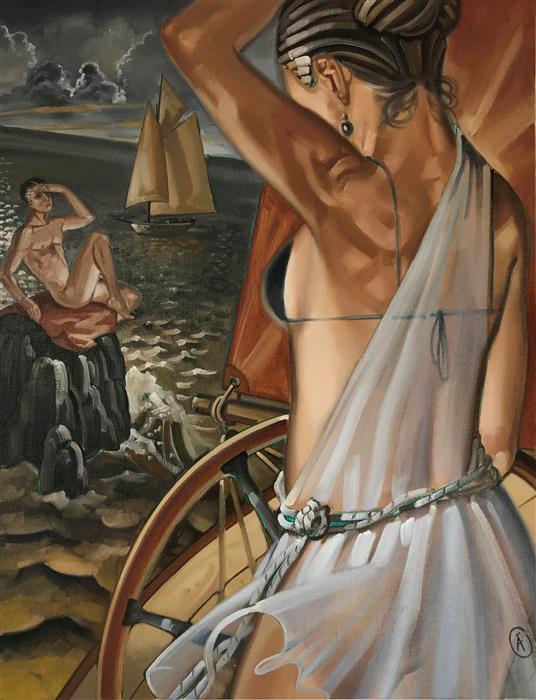 Original art for sale at UGallery.com | A Lass at the Helm by Anne-François de Sérilly | $2,850 | oil painting | 25.5' h x 19.5' w | ..\art\oil-painting-A-Lass-at-the-Helm