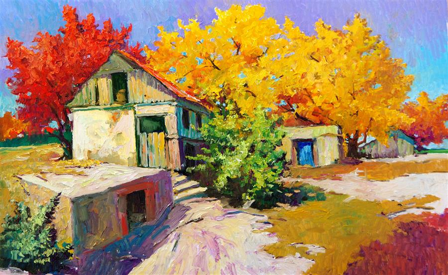 Original art for sale at UGallery.com | Fall and Old Farm House by Suren Nersisyan | $1,500 | oil painting | 24' h x 36' w | ..\art\oil-painting-Fall-and-Old-Farm-House