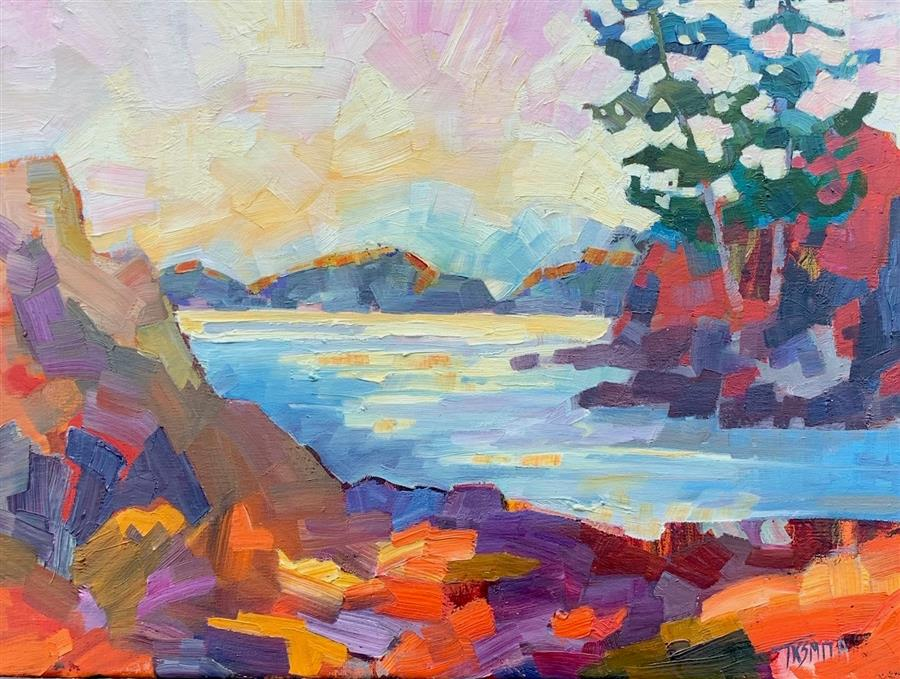 Original art for sale at UGallery.com | Cove by Teresa Smith | $550 | oil painting | 12' h x 16' w | ..\art\oil-painting-Cove-65881
