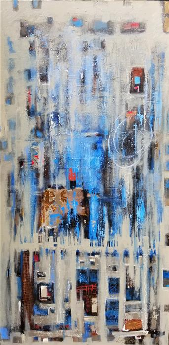Original art for sale at UGallery.com | The Occasional Rainy Wednesday by Leslie Ann Butler | $3,100 | mixed media artwork | 48' h x 24' w | ..\art\mixed-media-artwork-The-Occasional-Rainy-Wednesday
