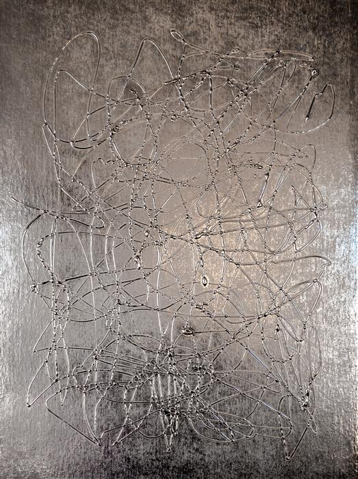Original art for sale at UGallery.com | Silver Day by M. Clark | $1,300 | mixed media artwork | 20' h x 15' w | ..\art\mixed-media-artwork-Silver-Day