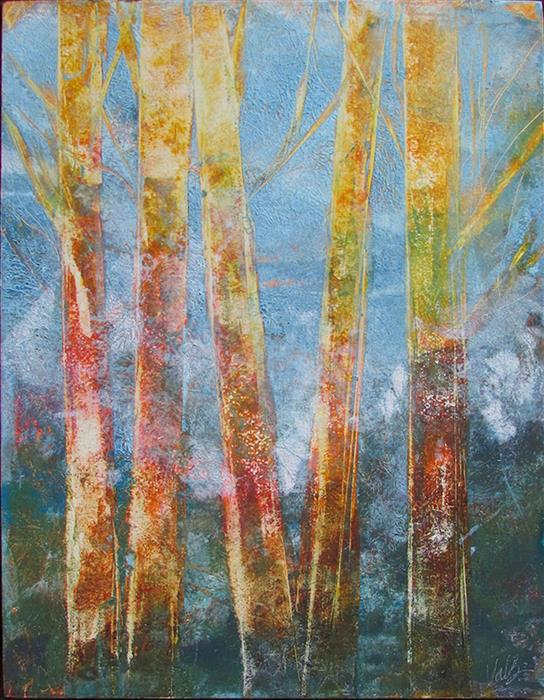Original art for sale at UGallery.com | Bare Trees 2 by Valerie Berkely | $325 | oil painting | 14' h x 11' w | ..\art\oil-painting-Bare-Trees-2
