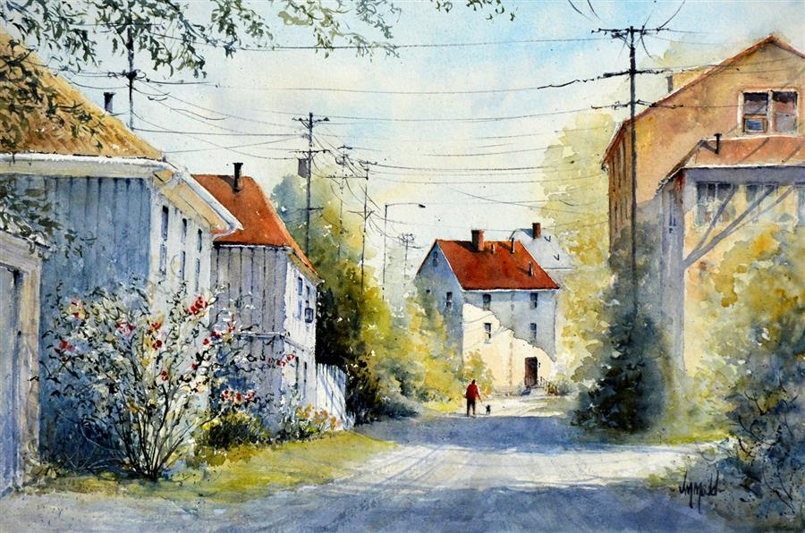 Original art for sale at UGallery.com | Alley Stroll by Judy Mudd | $1,125 | watercolor painting | 15' h x 22.5' w | ..\art\watercolor-painting-Alley-Stroll