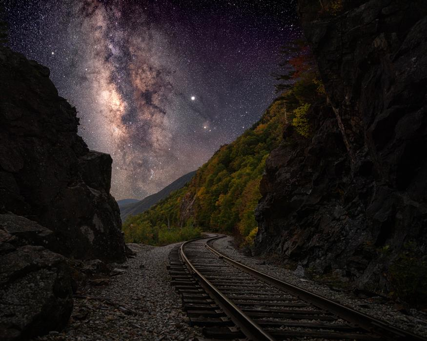 Original art for sale at UGallery.com | Milky Way over Crawford Notch Railroad Tracks by William Dickman | $25 | photography | 20' h x 16' w | ..\art\photography-Milky-Way-over-Crawford-Notch-Railroad-Tracks