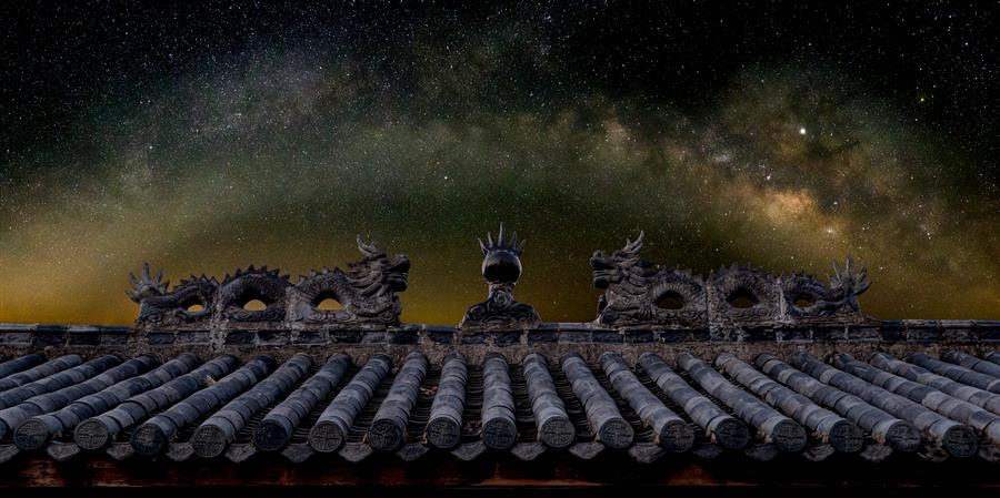 Original art for sale at UGallery.com | Milky Way Arch over Chinese Temple Roof by William Dickman | $25 | photography | 20' h x 10' w | ..\art\photography-Milky-Way-Arch-over-Chinese-Temple-Roof