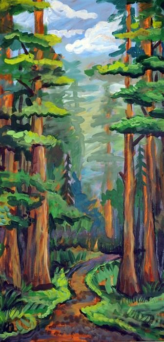Original art for sale at UGallery.com | Redwoods by Kira Yustak | $975 | acrylic painting | 30' h x 15' w | ..\art\acrylic-painting-Redwoods