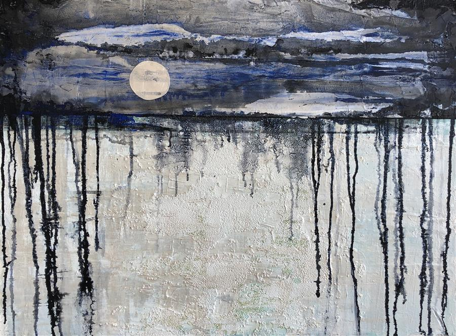 Original art for sale at UGallery.com | Snow Moon by Pat Forbes | $1,875 | acrylic painting | 30' h x 40' w | ..\art\acrylic-painting-Snow-Moon