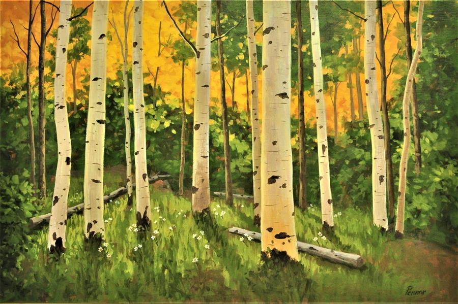 Original art for sale at UGallery.com | Backlit Aspens by Robert Pennor | $1,475 | acrylic painting | 24' h x 36' w | ..\art\acrylic-painting-Backlit-Aspens