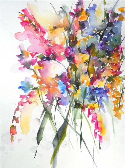 Original art for sale at UGallery.com | Autumn Blooms II by Karin Johannesson | $700 | watercolor painting | 16' h x 12' w | ..\art\watercolor-painting-Autumn-Blooms-II