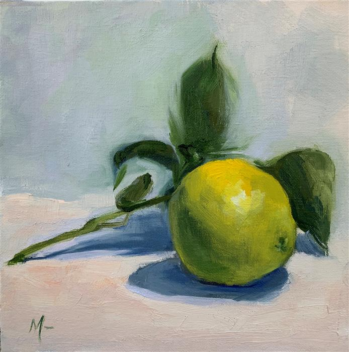 Original art for sale at UGallery.com | Single Lime on a Branch by Malia Pettit | $225 | oil painting | 8' h x 8' w | ..\art\oil-painting-Single-Lime-on-a-Branch