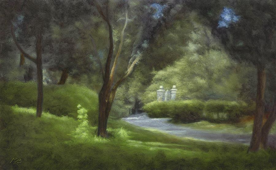 Original art for sale at UGallery.com | Near the Shakespeare Garden by Kevin Brown | $725 | oil painting | 11' h x 18' w | ..\art\oil-painting-Near-the-Shakespeare-Garden
