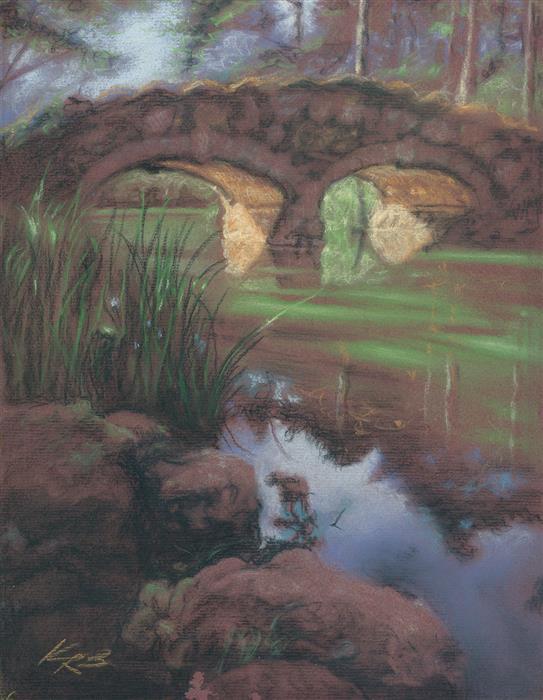 Original art for sale at UGallery.com | Rustic Bridge, Stow Lake by Kevin Brown | $325 | pastel artwork | 13' h x 10' w | ..\art\pastel-artwork-Rustic-Bridge-Stow-Lake