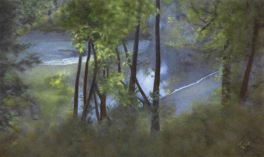 Original art for sale at UGallery.com | Screen of Trees, San Lorenzo River by Kevin Brown | $850 | oil painting | 12.5' h x 21' w | ..\art\oil-painting-Screen-of-Trees-San-Lorenzo-River