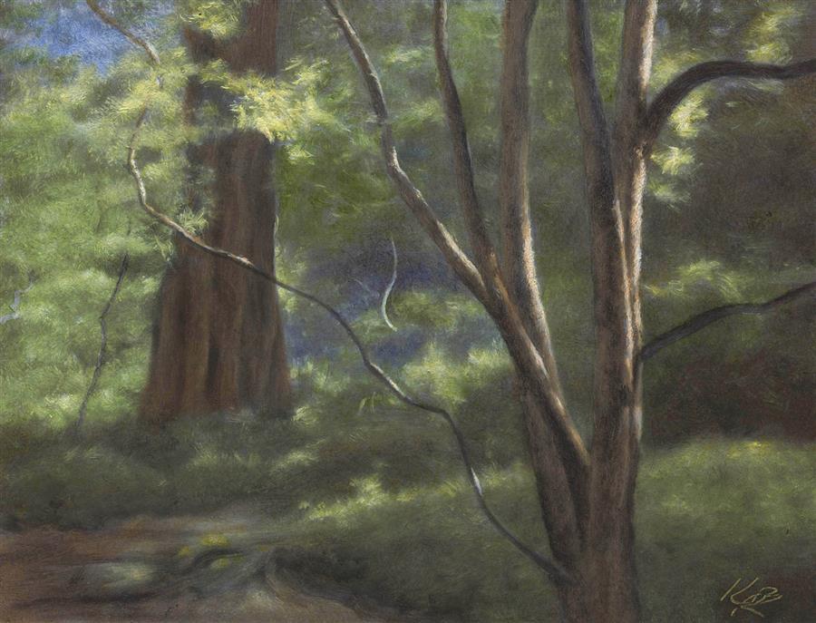 Original art for sale at UGallery.com | Japanese Maple, Strybing Arboretum by Kevin Brown | $575 | oil painting | 9' h x 12' w | ..\art\oil-painting-Japanese-Maple-Strybing-Arboretum